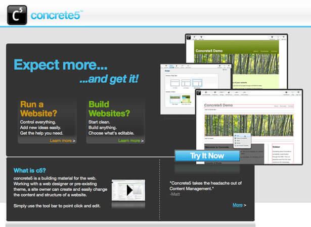 cms phổ biến Concrete5 có giao diện đẹp mắt, thu hút người dùng