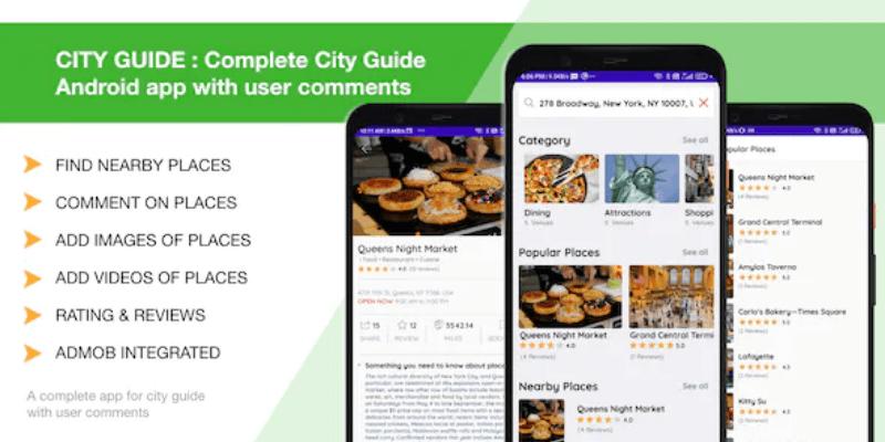 template ứng dụng cho thiết bị di động city guide