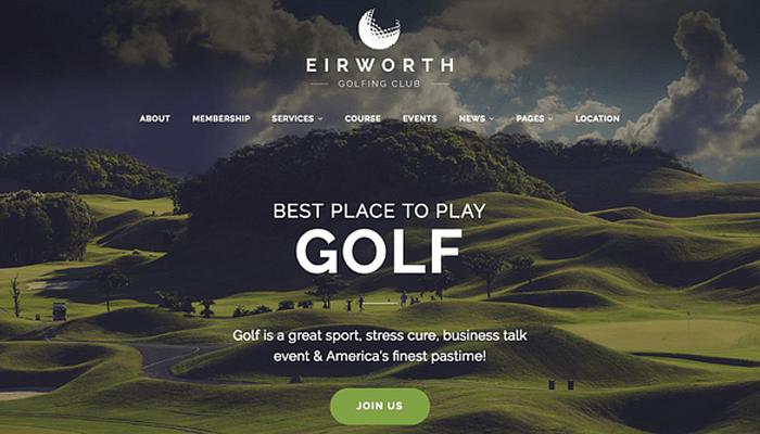 Mẫu website WordPress cho sân đánh golf - Eirworth
