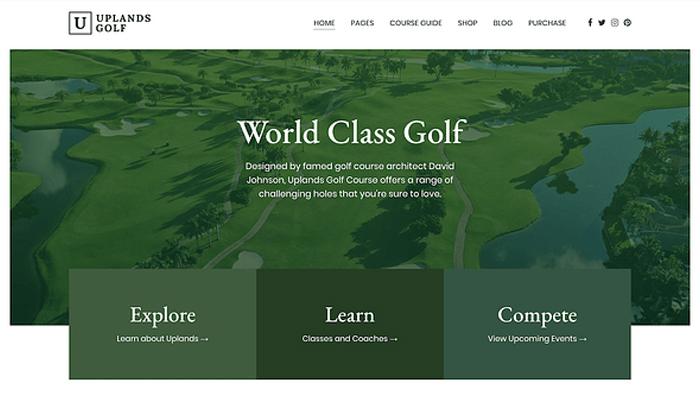 Theme WordPress giới thiệu sân golf - Uplands