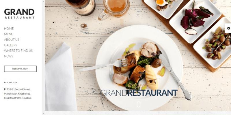 mẫu website quán ăn nhà hàng